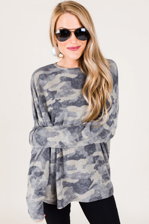 Brushed Knit Camo Top