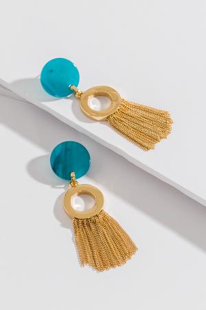 Jade Disc & Fringe Earring