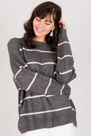 Sybil Sweater, Grey Pink