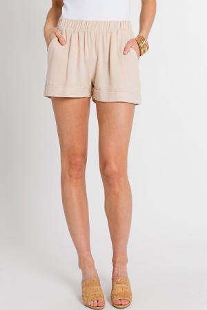 Cuffed Pull On Shorts, Sand