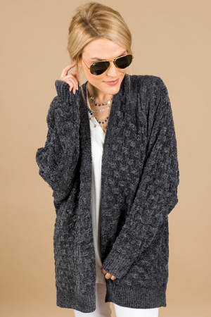 Basket Weave Chenille Cardi, Charcoal