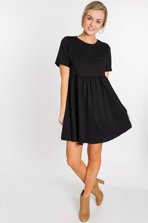 Throwback Babydoll Dress, Black