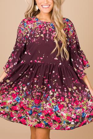 Floral Fall Babydoll Dress, Maroon