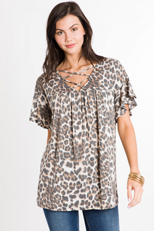 Cross Neck Babydoll, Cheetah