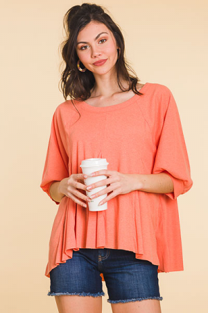 Ribbed Asymmetrical Top, Cantaloupe