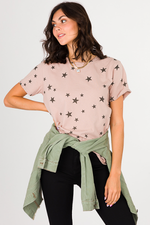 Distressed Star Tee, Mauve