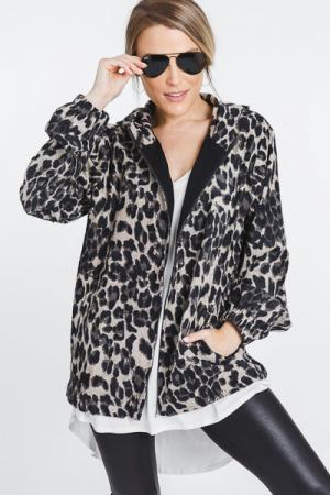 Corduroy Leopard Zip Jacket