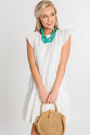 Eyelet Tiered Dress, Off White