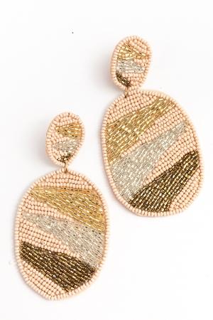 Geometric Pattern Oval Earring, Beige