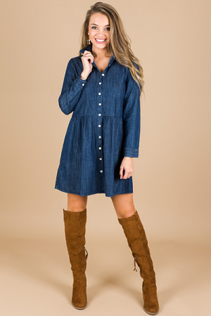 Collared Denim Dress