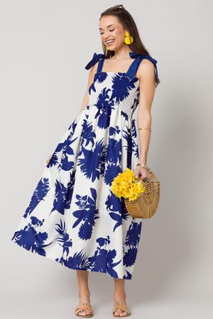 Blue Floral Smock Maxi