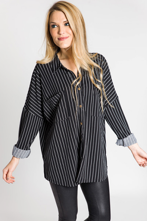 Stretchy Stripe Button Down, Black
