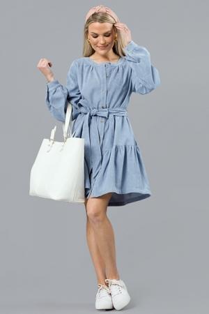 Belted Corduroy Dress, Dusty Blue