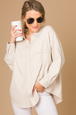 Creamy Button Down, Taupe