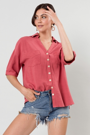 Valerie Linen Button Up, Rose
