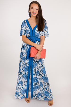 Front Slit Chinoisserie Maxi