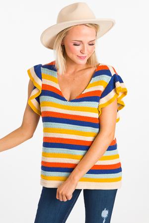 Sweater Knit Stripe Top, Multi