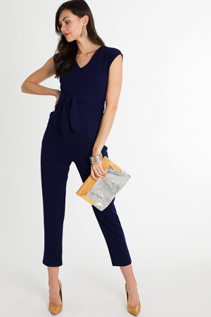 Chic and Stretchy Jumpsuit, Navy