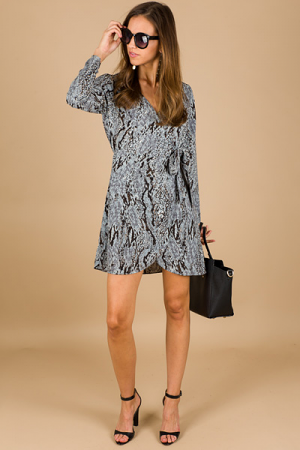 Serena Snakeskin Wrap Dress
