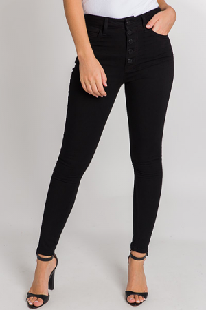 Exposed Button Skinnies, Black