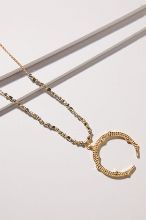 Intricate Crescent Gold Necklace