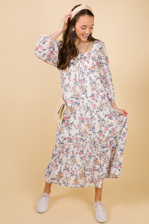 Fawn Floral Maxi, Ivory