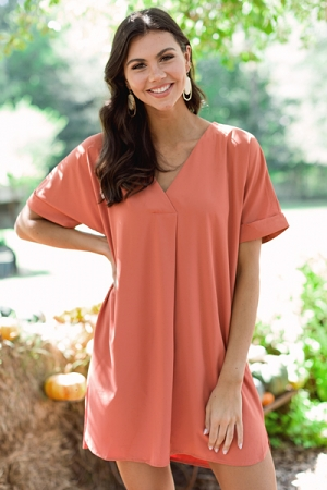 Picture Perfect V Dress, Apricot