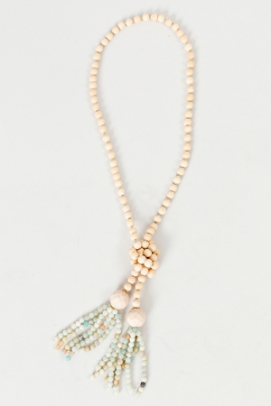 Beaded Tassel Necklace, Turquoise