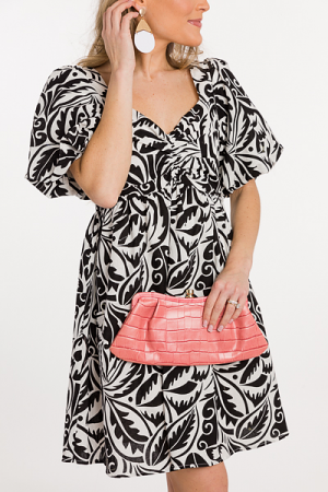 Puff Sleeve Scroll Dress