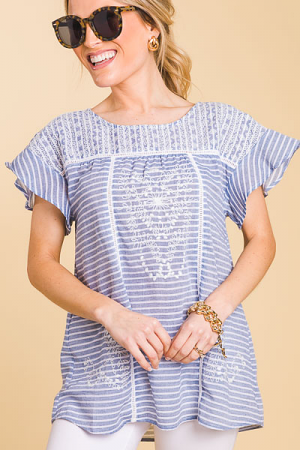 Embroidered Stripe Blouse, Blue