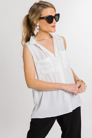 Sleeveless Pocket Tank, White