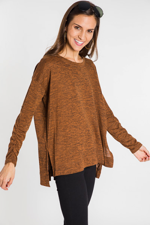 Ruched Sleeves Tunic, Caramel