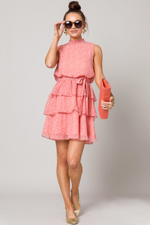 Fall Flowers Dress, Coral