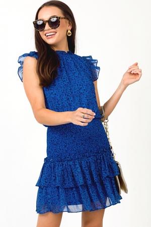 Madison Smock Mini Dress, Blue