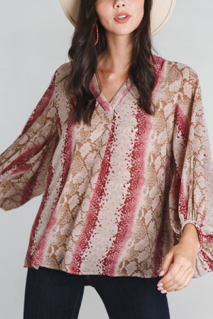 Puff Sleeve Python Blouse, Pink