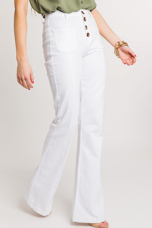 Tortoise Button White Flares