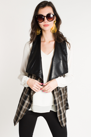 Leather Lined Plaid Vest