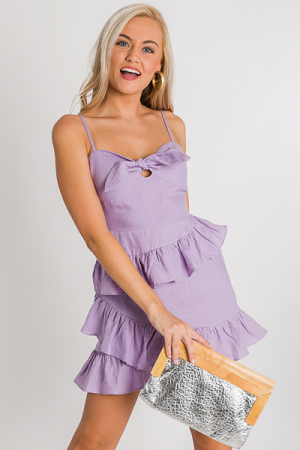 Lavender Linen Mini Dress