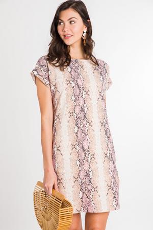 Emma Pocket Dress, Pink Snake