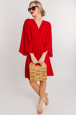 Pleated Kimono Dress, Red