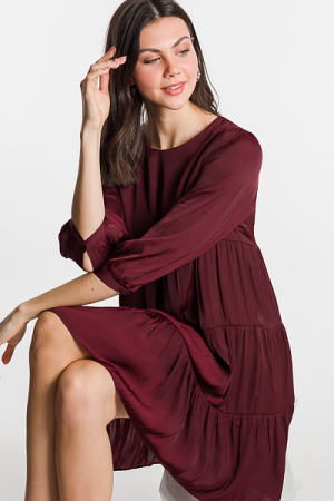 Tiered Satin Dress, Merlot