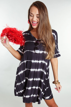 Tie Dye Swing Dress, Black