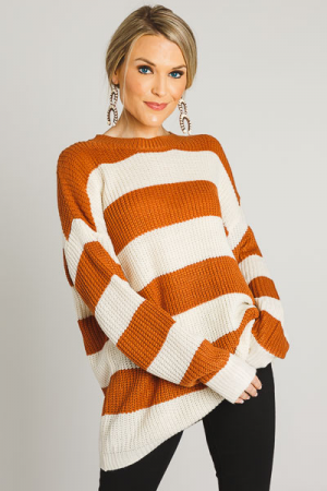 Toffee Stripes Chunky Sweater