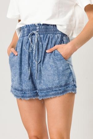 Double Fray Denim Shorts
