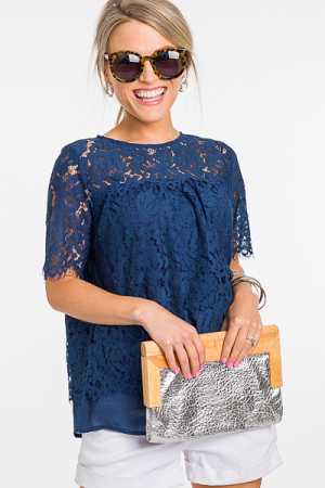 Layered Lace Blouse, Navy