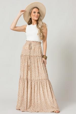Speckle Maxi Skirt, Beige