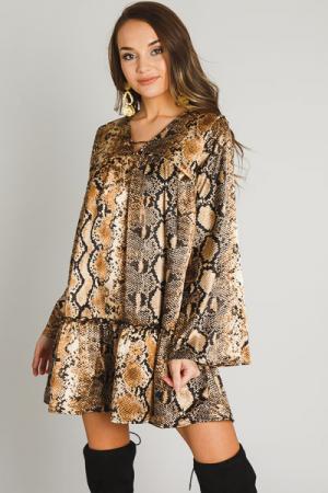Silky Snake Babydoll Dress, Gold