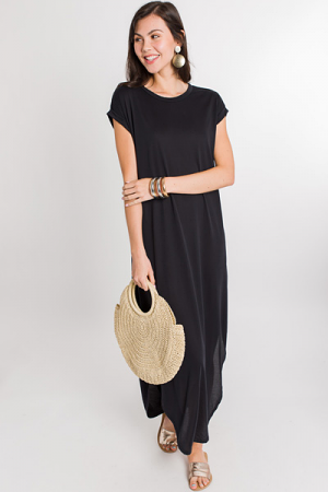 Rolled Sleeve Maxi, Black