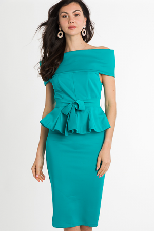 Kate Peplum Dress, Jade
