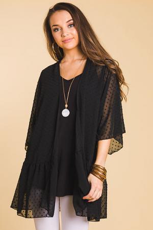 Swiss Chiffon Kimono, Black